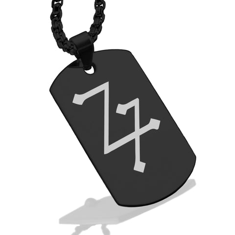 Stainless Steel Lead Alchemical Symbol Dog Tag Pendant - Comfort Zone Studios