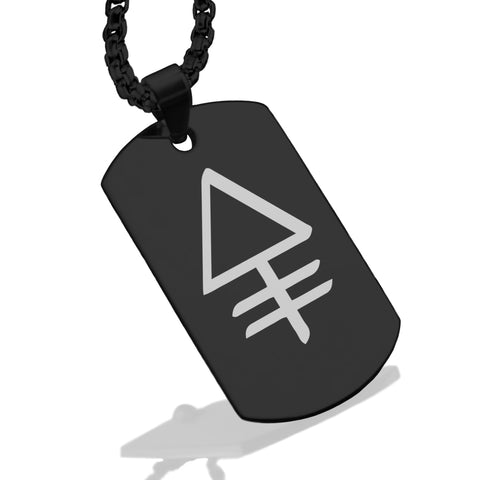 Stainless Steel Phosphorus Alchemical Symbol Dog Tag Pendant - Comfort Zone Studios