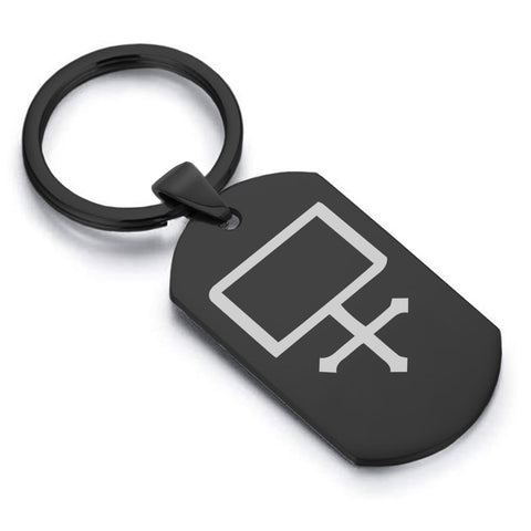 Stainless Steel Potassium Carbonate Alchemical Symbol Dog Tag Keychain - Comfort Zone Studios