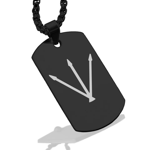 Stainless Steel Silver Alchemical Symbol Dog Tag Pendant - Comfort Zone Studios