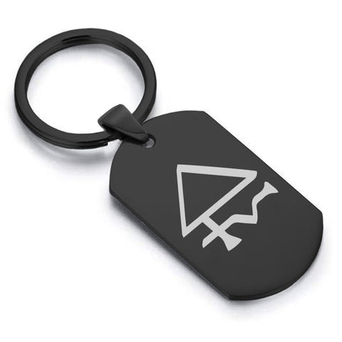 Stainless Steel Sulfur Alchemical Symbol Dog Tag Keychain - Comfort Zone Studios