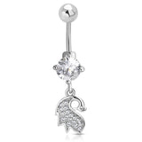 Stainless Steel Delicate Swan Feather Cubic Zirconia Charm Dangle Belly Button Navel Ring - Comfort Zone Studios