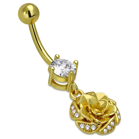 Stainless Steel Floral Rose Petal CZ Flower Medallion Charm Dangle Belly Button Navel Ring - Comfort Zone Studios