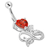 Stainless Steel Spiral Infinity Floral Rose Leaf Heart CZ Charm Dangle Belly Button Navel Ring - Comfort Zone Studios