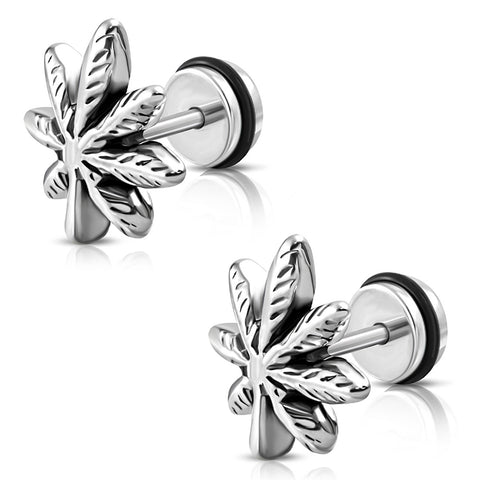 Stainless Steel Marijuana Ganja Leaf Faux Fake Cheater Ear Plugs, Pair - Comfort Zone Studios