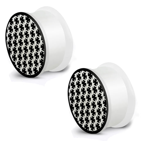 Glow in the Dark Soft Silicone Pattee Biker Iron Cross Saddle Ear Plugs, Pair - Comfort Zone Studios