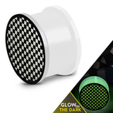 Glow in the Dark Soft Silicone Grid/Checker Pattern Saddle Ear Plugs, Pair - Comfort Zone Studios