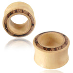 Organic Crocodile Wood Arang Wood Inlay Double Flared Saddle Ear Tunnels, Pair - Comfort Zone Studios