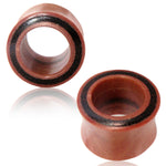 Organic Sawo Wood Tamarind Wood Inlay Double Flared Saddle Ear Tunnels, Pair - Comfort Zone Studios