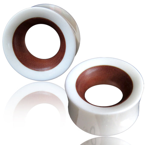 Organic Re-Constructed White Bone Rose Wood Inlay Two-Tone Double Flared Saddle Ear Tunnels, Pair - Comfort Zone Studios