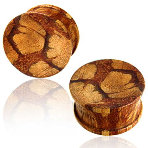 Organic Liana Wood Double Flared Saddle Ear Plugs, Pair - Comfort Zone Studios