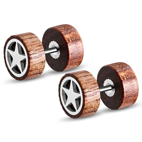 Organic Tamarind Wood Full All Star Round Circle Stainless Steel Faux Fake Cheater Ear Plugs Gauge, Pair - Comfort Zone Studios