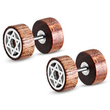 Organic Tamarind Wood Star of David Round Circle Stainless Steel Faux Fake Cheater Ear Plugs Gauge, Pair - Comfort Zone Studios