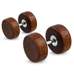 Organic Natural Wood Illusion Round Circle Stainless Steel Faux Fake Cheater Ear Plugs Gauge, Pair - Comfort Zone Studios