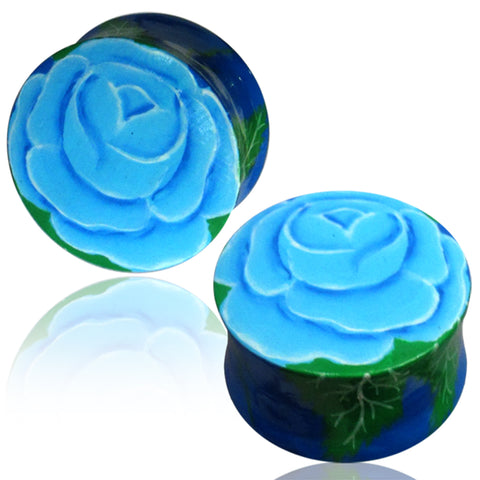 Organic Crocodile Wood Hand Painted Floral Rose Double Flared Saddle Ear Plugs, Pair - Comfort Zone Studios
