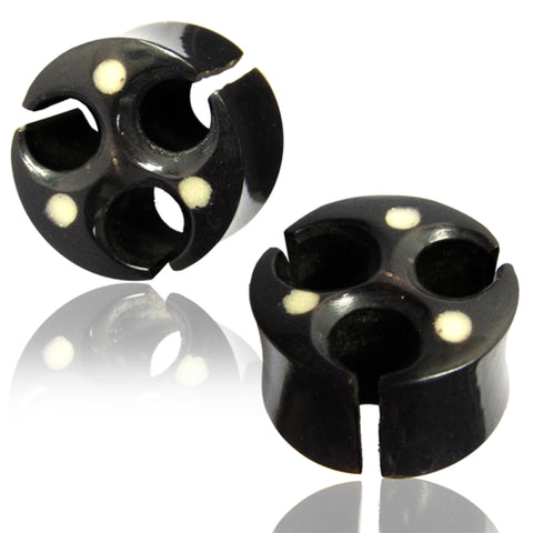 Organic Black Water Buffalo Horn Cut-Out Viking Style Two-Tone Double Flared Saddle Ear Plugs, Pair - Comfort Zone Studios