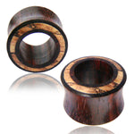Organic Tamarind Wood Zebra Wood Inlay Two-Tone Double Flared Saddle Ear Tunnels, Pair - Comfort Zone Studios