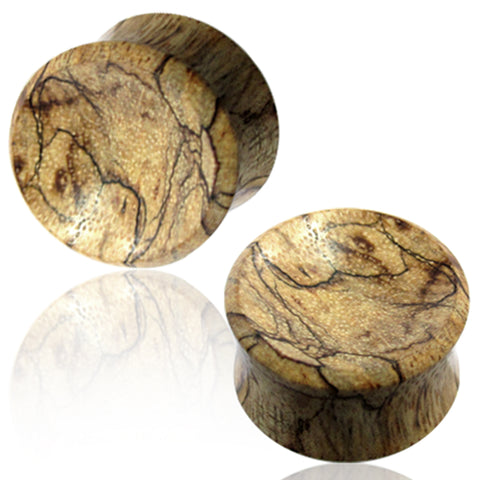 Organic Light Tamarind Wood Double Flared Saddle Ear Plugs, Pair - Comfort Zone Studios