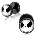 Black Stainless Steel Two-Tone Jack Skellington Mask Circle Faux Fake Cheater Ear Plugs Gauge, Pair - Comfort Zone Studios