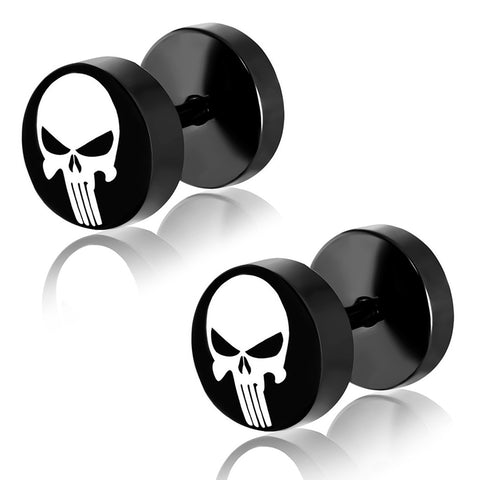 Black Stainless Steel Two-Tone Punisher Skull Faux Fake Cheater Ear Plugs Gauge, Pair - Comfort Zone Studios
