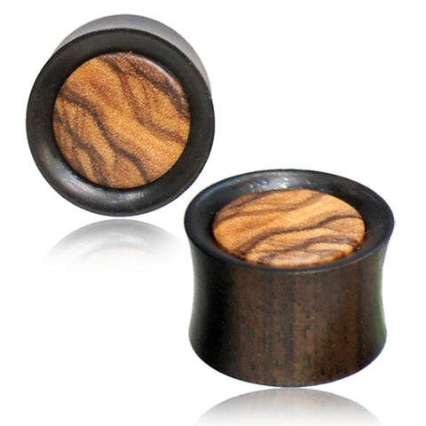 Organic Arang Wood Olive Wood Inlay Two-Tone Double Flared Saddle Ear Plugs, Pair - Comfort Zone Studios