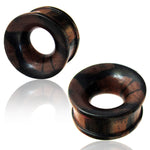 Organic Arang Wood Two-Tone Concave Double Flared Saddle Ear Tunnels, Pair - Comfort Zone Studios