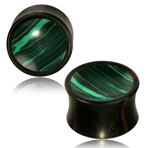 Organic Arang Wood Malachite Inlay Two-Tone Double Flared Saddle Ear Plugs, Pair - Comfort Zone Studios