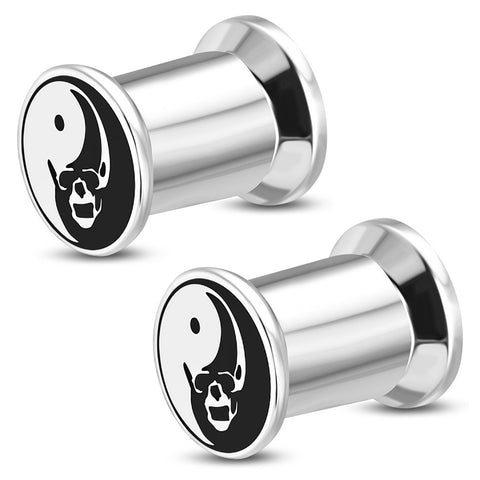 Stainless Steel Yin Yang Evil Skull Two-Tone Double Flared Saddle Ear Screw Plugs, Pair - Comfort Zone Studios