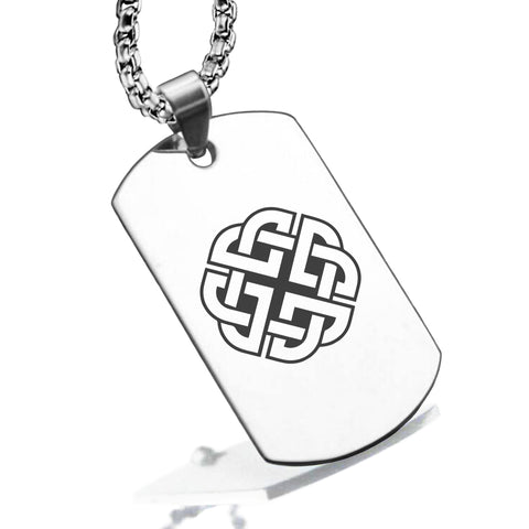 Stainless Steel Celtic Shield Knot Dog Tag Pendant - Comfort Zone Studios
