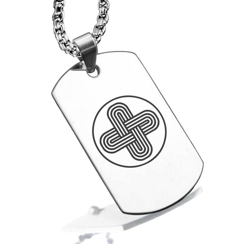 Stainless Steel Celtic Solomon's Knot Dog Tag Pendant - Comfort Zone Studios