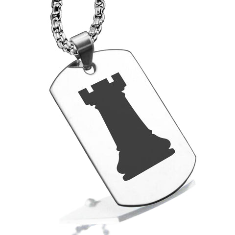 Stainless Steel Rook Chess Piece Dog Tag Pendant