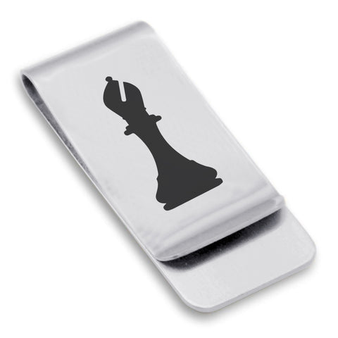 Stainless Steel Bishop Chess Piece Classic Slim Money Clip