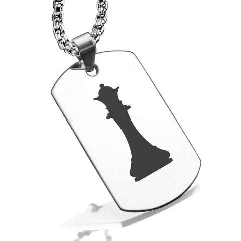 Stainless Steel Queen Chess Piece Dog Tag Pendant