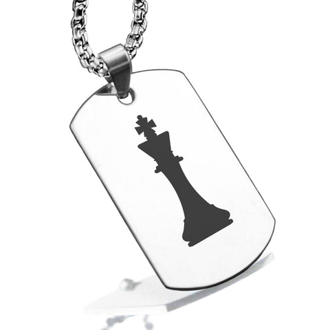 Stainless Steel King Chess Piece Dog Tag Pendant