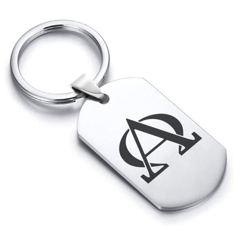 Stainless Steel Religious Alpha and Omega Dog Tag Keychain - Comfort Zone Studios