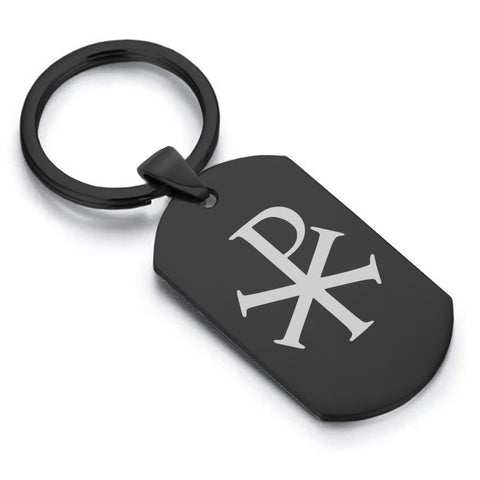 Stainless Steel Religious Chi Rho Dog Tag Keychain - Comfort Zone Studios