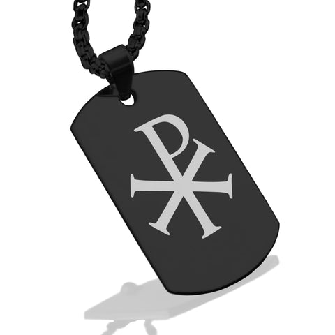 Stainless Steel Religious Chi Rho Dog Tag Pendant - Comfort Zone Studios
