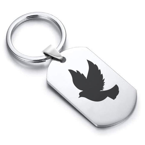 Stainless Steel Religious Dove Dog Tag Keychain - Comfort Zone Studios