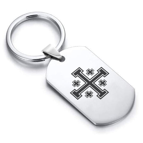 Stainless Steel Religious Jerusalem Cross Dog Tag Keychain - Comfort Zone Studios