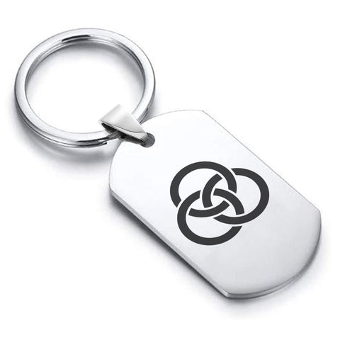 Stainless Steel Religious Trinity Borromean Rings Dog Tag Keychain - Comfort Zone Studios