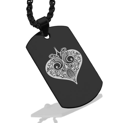 Stainless Steel Vintage Heart Suit Dog Tag Pendant - Comfort Zone Studios