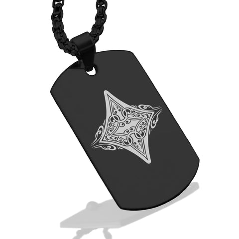 Stainless Steel Vintage Diamond Suit Dog Tag Pendant - Comfort Zone Studios