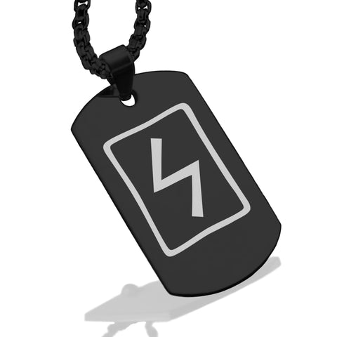 Stainless Steel Elder Futhark Sowulo Rune Dog Tag Pendant - Comfort Zone Studios