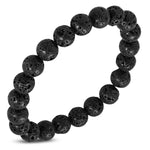 Natural Midnight Black Coral Molten Lava Rock Stone Beads Stretch Bracelet - Comfort Zone Studios
