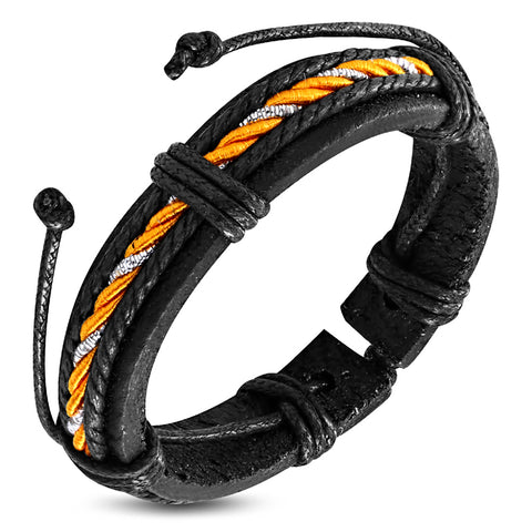 Genuine Black Leather Multi Color Wrap Rope Adjustable Bracelet - Comfort Zone Studios
