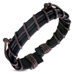Genuine Black Leather Two-Tone Brown Strip Wrap Rope Adjustable Black Leather Bracelet - Comfort Zone Studios
