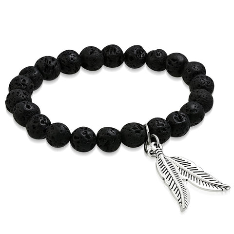 Natural Midnight Black Coral Molten Lava Rock Stone Beads Bird Feather Leaf Charm Stretch Bracelet - Comfort Zone Studios
