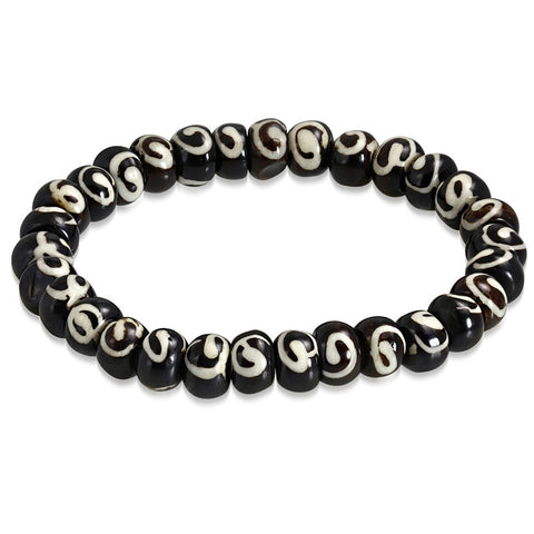 Organic Natural Tribal Horn Bone Two-Tone Beads Stretch Bracelet - Comfort Zone Studios