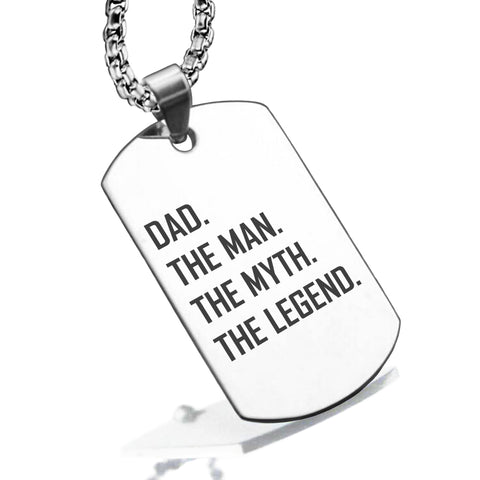 Stainless Steel Dad the Man Myth Legend Dog Tag Pendant - Comfort Zone Studios