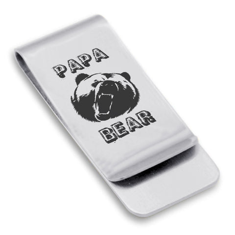 Stainless Steel Papa Bear Classic Slim Money Clip
